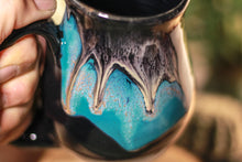 Load image into Gallery viewer, 44-E Teal Cavern Barely Flared Notched Mug, 16 oz