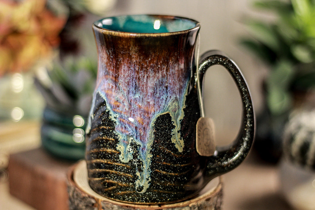 06-D Electric Wave Barely Flared Notched Textured Mug, 14 oz