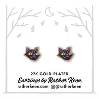 Black Cat stud earrings by Rather Keen.