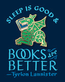 "Book dragon enamel pin by Rather Keen. ""Sleep is good and Books are Better."" —Tyrion Lannister"