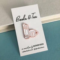 Hand Drawn Books and Mug enamel pin