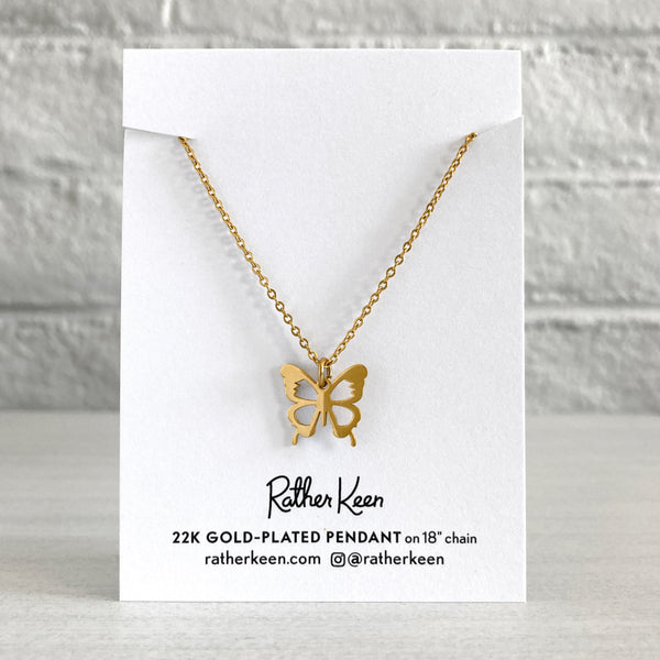 Butterfly pendant 18k gold charm necklace