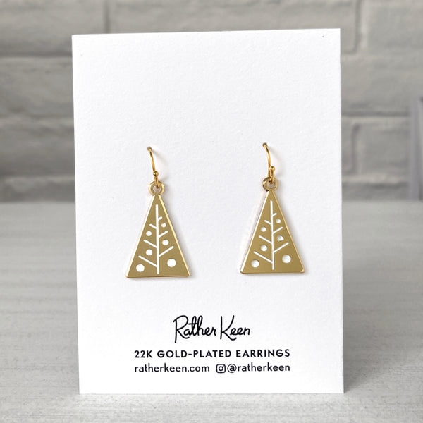Mid-Century Style Christmas Tree Earrings