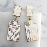 Geometric Books earrings