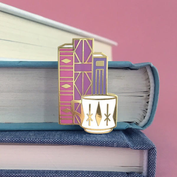 Geometric Books and Mug enamel pin