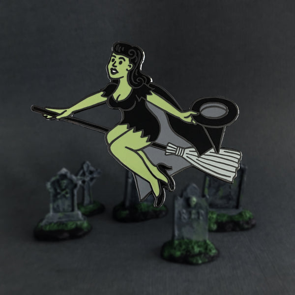 Pinup Witch enamel pin by Rather Keen