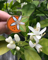 Geometric Orange Blossom pin by Rather Keen.