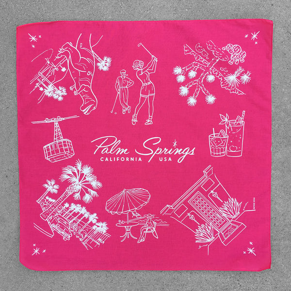 Retro Palm Springs Bandana - screen printed