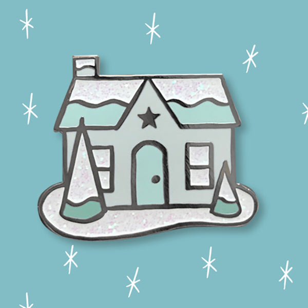 Snowy Glitter House enamel pin by Rather Keen