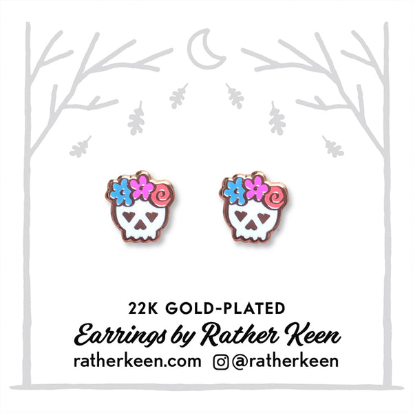 Day of the Dead stud earrings by Rather Keen.