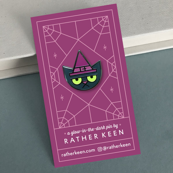 Cat Witch enamel pin by Rather Keen.