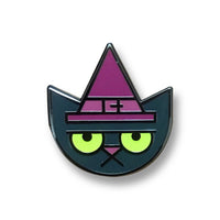 Cat Witch glow-in-the-dark enamel pin