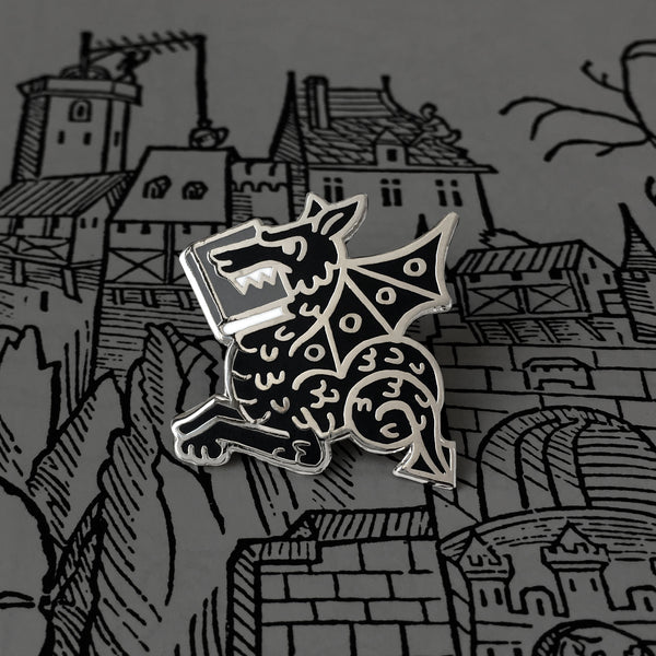 Black Book Wyrm enamel pin - bookish dragon - by Rather Keen