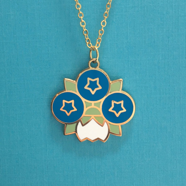 Geometric Blueberry Blossom pendant by Rather Keen