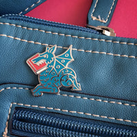 Blue Book Wyrm enamel pin - bookish dragon - by Rather Keen