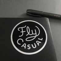 Fly Casual vinyl sticker by Rather Keen.