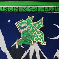 Green Book Wyrm enamel pin - bookish dragon - by Rather Keen
