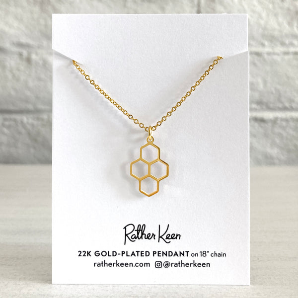 Honeycomb 18k gold charm necklace