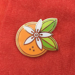Geometric Orange Blossom enamel pin by Rather Keen