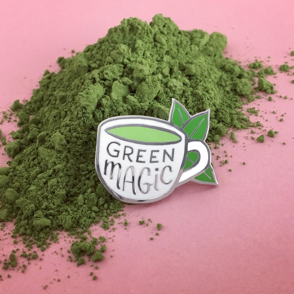 Green Magic - matcha green tea enamel pin by Rather Keen