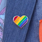 Pride Rainbow Heart pin by Rather Keen.