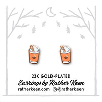 Pumpkin Spice Latte stud earrings by Rather Keen.