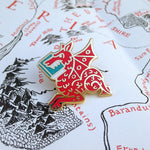 Red Book Wyrm enamel pin - bookish dragon - by Rather Keen