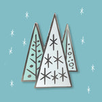 mid-century Christmas trees pin