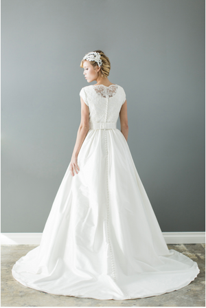 Style: WL5205   Modest cap sleeves wedding gown