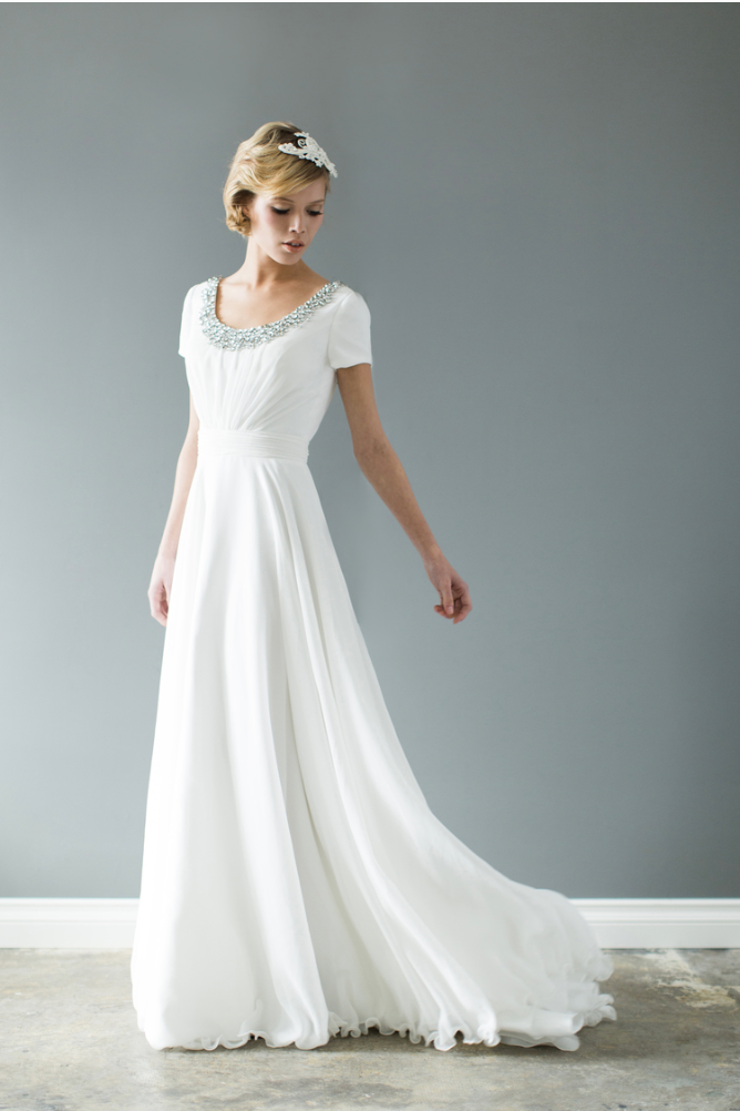 Style: WL2092B Modest chiffon wedding dress