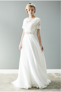 Style: WL2092  Modest chiffon wedding dress