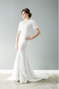 Style: WL5145 Modest romantic lace gown