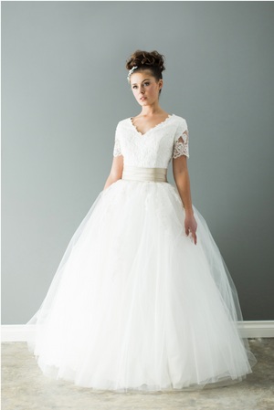 Style: WL5197  Modest lave ball gown