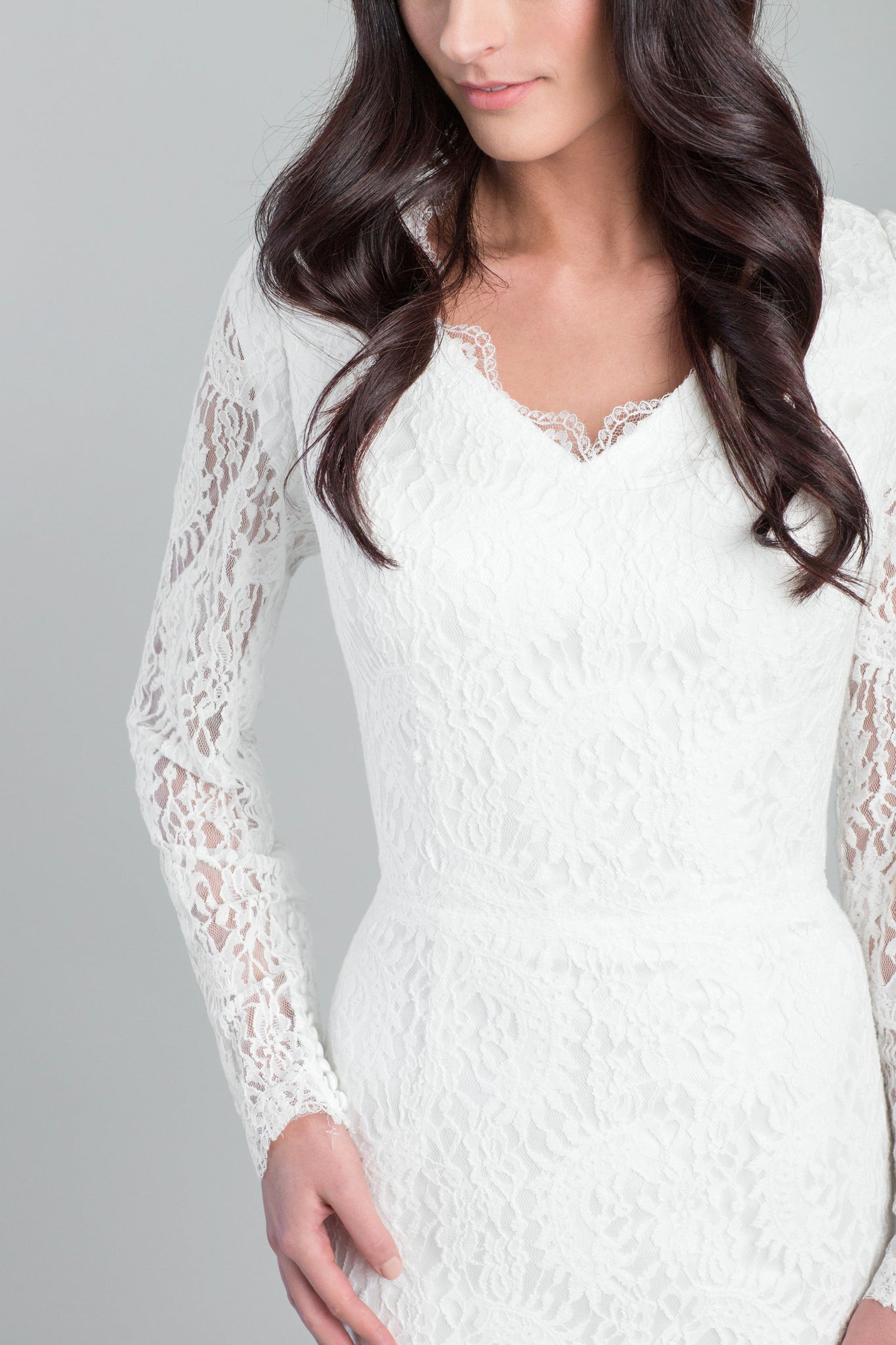 Style: WL5354 Modest fitted and flare cotton lace dress