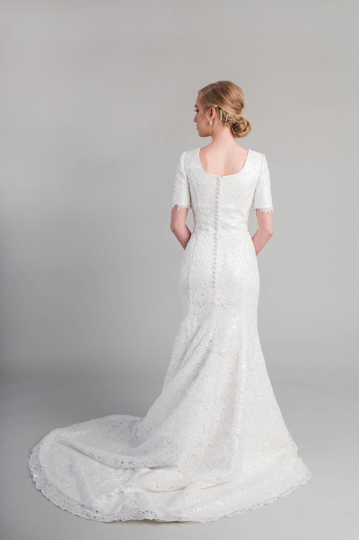 Style: WL5359  Modest fit-and-flare wedding dress