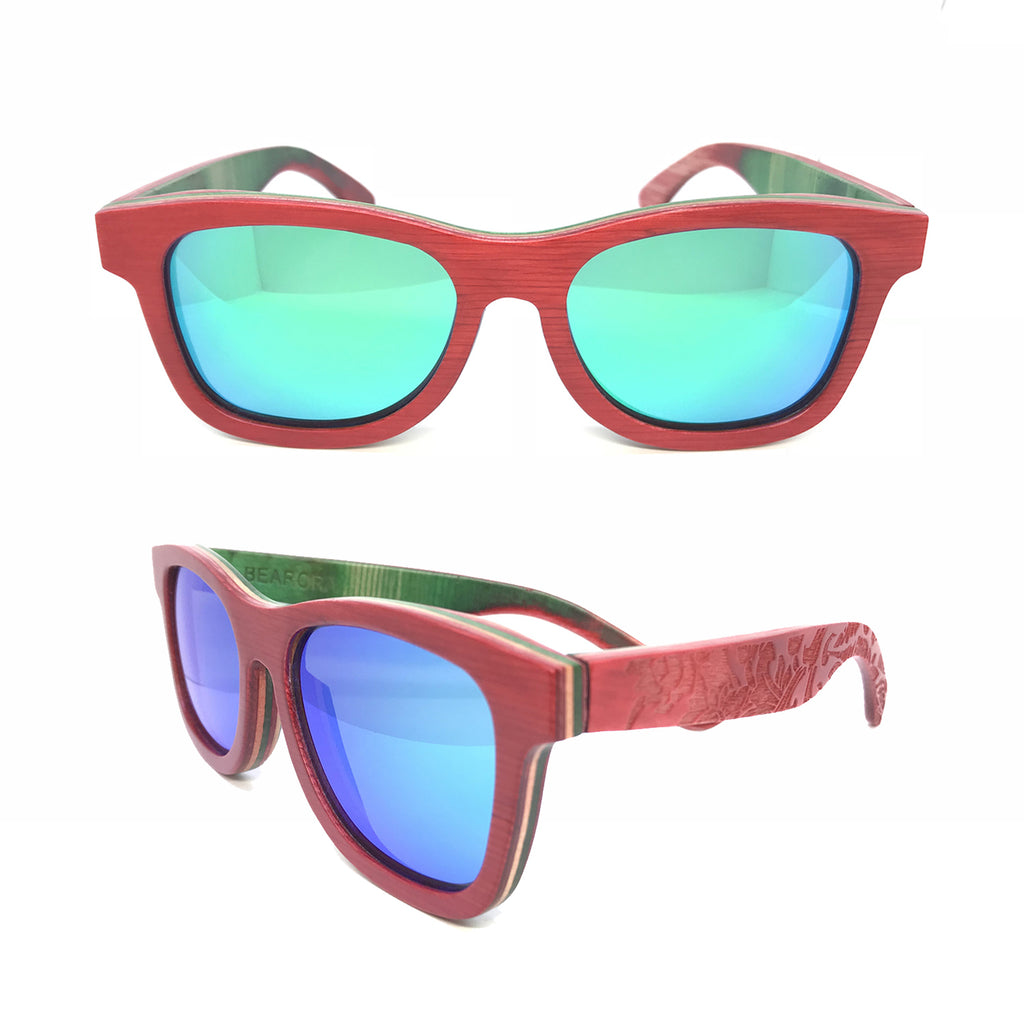 Sk8 Wayfarer – Fire Plants Green Mirror - Bearora