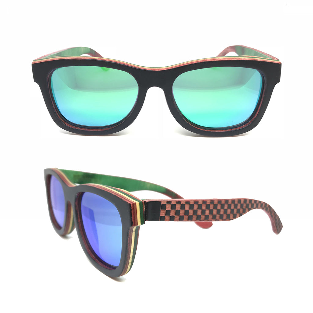 Sk8 Wayfarer – Night Checkerboard Green Mirror - Bearora