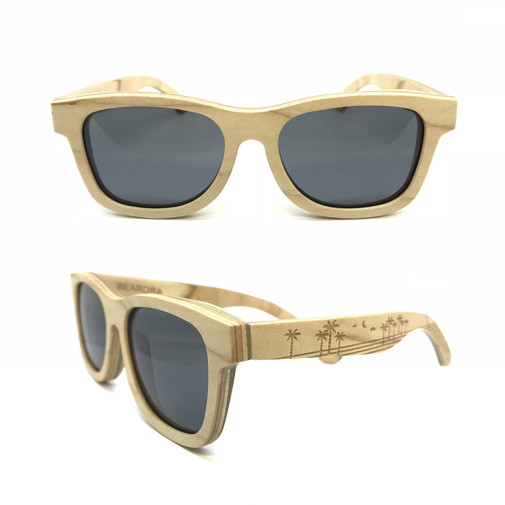 Sk8 Wayfarer – Sand Palm Trees Black - Bearora