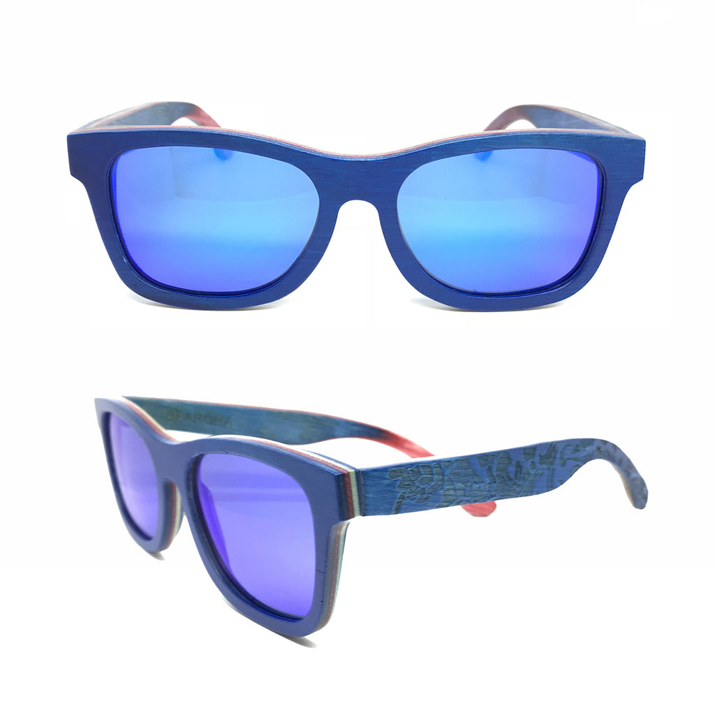 Sk8 Wayfarer – Water Plants Blue Mirror - Bearora