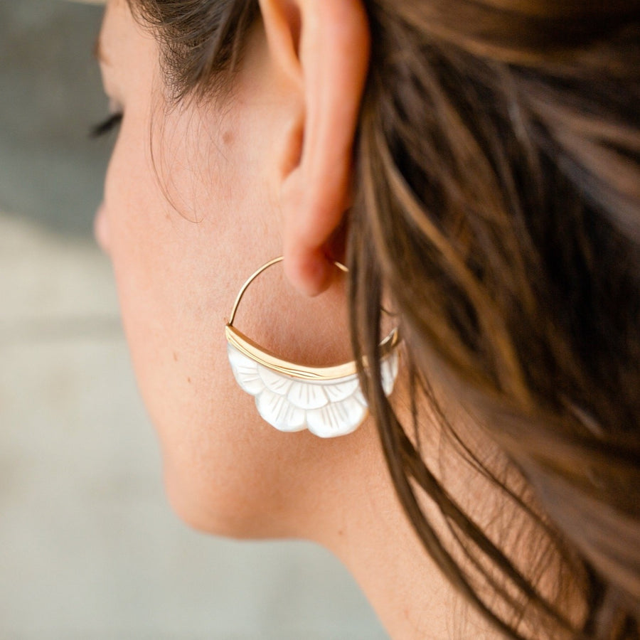 Mother of Pearl Moon Earrings - Crescent Moon Flower - Mother of pearl with Gold-tone bezel (b222)