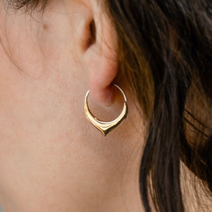 Tiny Petal Hoop Earrings - Gold Tone with Sterling Silver Ear Wire - Sleeper Hoops (B240)