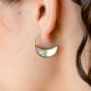 Crescent Moon Small Earrings - Mother Of Pearl Hoops - Eclipse Statement earrings - (248B)