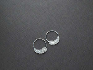 Tiny Silver Feather Earrings 18mm - Nature Jewelry - Silver Hoops (S264)