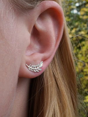 Tiny Leaf Studs - Solid Sterling Silver - Nature Jewelry - Olive Leaf - (S266)