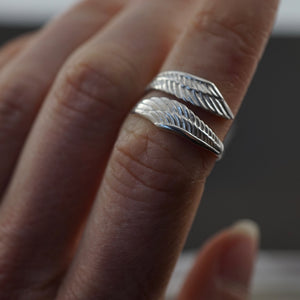 Feather Ring - Solid Sterling Silver - Adjustable Bohemian Leaf Ring (126S)