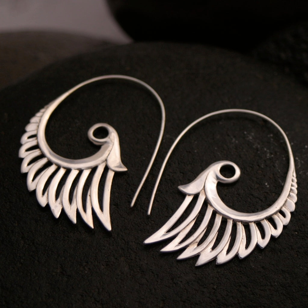 Angel Wing Earrings Solid Sterling Silver