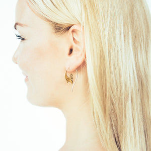 Gold Tribal Minimal Earrings Brass