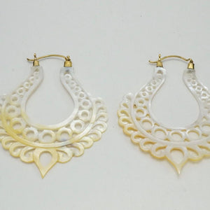 Mother Of Pearl Earrings - Large Ornate Hoops - Alchemy Hoops