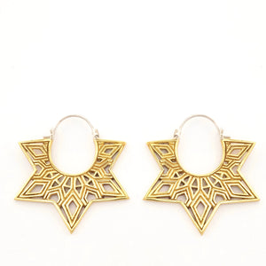 Mandala Statement Earrings - Medium Hoops - Gold Star Tunnel Earrings - Boho Hoops (244B)
