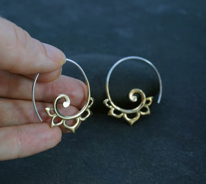 Spiral Earrings -  Lotus Earrings - Brass Tribal Earrings - Flower Earrings - Medium Hoops - Gold Spirals - Silver Spirals